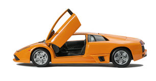 Collectible toy sport car model. With open doors on white background Royalty Free Stock Images