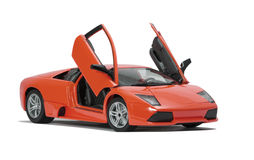 Collectible toy sport car model. With open doors  on white background Stock Image