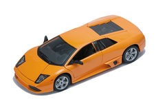 Collectible toy  sport car model top view. Collectible toy  sport car model on white background Stock Photos