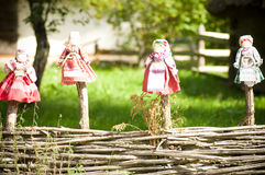 Collectible Ukrainian folk dolls. In garden Royalty Free Stock Photo