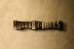 COLLECTIBLES - close-up van grungy wijnoogst gezet woord op metaalachtergrond stock afbeelding