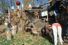 Collectibles and junk in a back yard, Highway 90, NY Stock Images