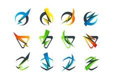 Collectief bedrijfsembleem, het pictogram van het flitssymbool en blikseminslagconceptontwerp Royalty-vrije Stock Fotografie