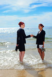 Collectief op het strand Royalty-vrije Stock Foto's