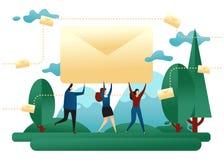 Collectieve E-mail Bureaumensen Carry Envelope With Letter Ontwerpconcept het Verzenden van Berichten Bedrijfs vectorillustratie royalty-vrije illustratie