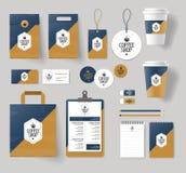 Collectieve het brandmerken identiteitsspot op malplaatje voor koffiewinkel en restaurant vector illustratie
