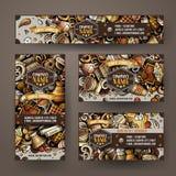 Collectieve Identiteits vectormalplaatjes geplaatst ontwerp met de Winkelthema van de krabbelshand getrokken Koffie Stock Fotografie