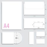 Collectieve Identity Envelopdocument, adreskaartjes, CD Stock Afbeeldingen