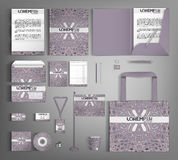 Collectieve Identity Reeks met lilac abstract patroon Stock Foto's
