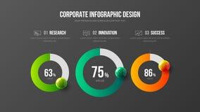 Collectieve marketing analytics 3 infographic het ontwerplay-out van de optie radiale bar stock illustratie
