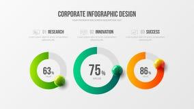 Collectieve marketing analytics 3 infographic het ontwerplay-out van de optie radiale bar royalty-vrije illustratie