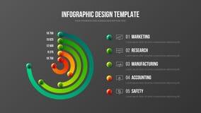 Collectieve marketing het ontwerplay-out van de analytics radiale bar stock illustratie