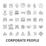 Collectieve mensen, collectieve identiteit, zaken, trein, collectieve gebeurtenis, de pictogrammen van de bureaulijn Editableslag royalty-vrije illustratie