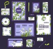 Collectieve stijl bedrijfsmalplaatjes Reeks van de lente bloemenontwerp Stock Afbeelding