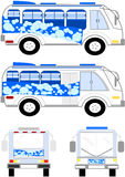 Collectieve vervoerseenheid met blauwe bellen Royalty-vrije Stock Afbeeldingen