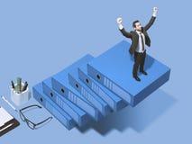 Collectieve zakenman die de ladder van succes beklimmen stock foto's