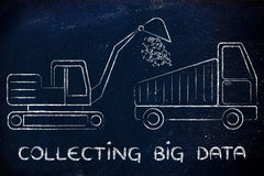 Collecting big data: funny digger and truck elaborating binary c Stock Photo