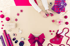 Collecting christmas decorations royalty free stock images