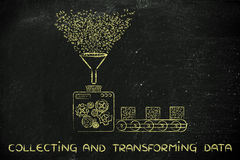 Collecting data, factory processing binary code. Collecting and transforming data: funny illustration with factory machines processing binary code stock image