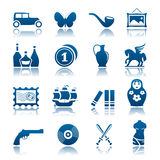Collecting and hobby icon set. Set of collecting and hobby icons Royalty Free Stock Photos