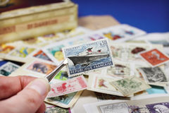 Collecting stamps Stock Images