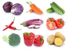 Collectio fresco de los tomates de las patatas del paprika de las zanahorias de las verduras Imagen de archivo