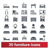 Collection à la maison d'icônes de meubles et d'accessoires illustration libre de droits