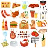 Collection élégante d'icônes d'accessoires de barbecue Image libre de droits