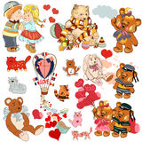 Collection énorme d'animaux tirés par la main d'enfant de vecteur, ours, chats, illustration de vecteur