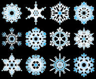 Collection of 12 vector snowflakes. Collection of 12 vector snowflakes on black Stock Image