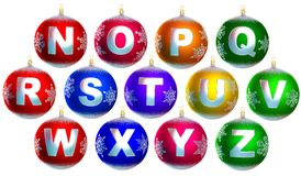 Collection of 13 shiny chrismas baubles. With letters from n to z Royalty Free Stock Image