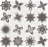 Collection of 16 flower sketches. This is illustration of C 16 flower sketches royalty free illustration