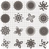 Collection of 16 flower sketches. This is illustration  of C 16 flower sketches Stock Photography