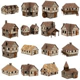 Collection of 16 medieval houses Royalty Free Stock Image