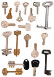 Collection of 19 keys isolated white Royalty Free Stock Image