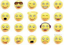 Collection of 20 smilies. Shoving various facial expressions. Objects in vector format can easily be moved to construct new smilies Stock Photo