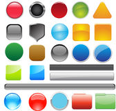 Collection of 25 glossy buttons in various color Stock Images