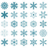 Collection of 25 snowflakes. Isolated on white background Stock Photo