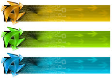 Collection of 3 connection banners. Three banners of internet technology and soft background with arrows Stock Images