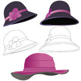 Collection of 3 different elegant hats Royalty Free Stock Image