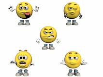 Collection of 3d Emoticons Royalty Free Stock Image