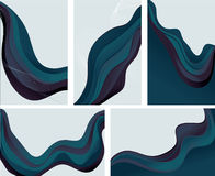 Collection of 5 abstract wave backgrounds in blue. Collection of 5 abstract wave background in shades of blue and purple. Each background is grouped on its own stock illustration