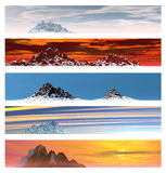 Collection of 5 Mountain Landscape Banners Stock Images
