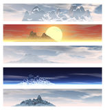 Collection of 5 Mountain Landscape Banners Stock Photography