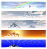 Collection of 5 Mountain Landscape Banners Royalty Free Stock Photography