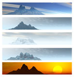 Collection of 5 Mountain Landscape Banners Stock Photo
