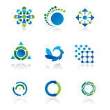 Collection of 9 design elements. And graphics in green and blue color Royalty Free Stock Photography