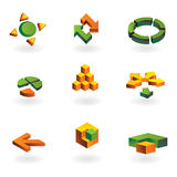 Collection of 9 design elements. And graphics in green and orange color Royalty Free Stock Image