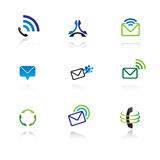 Collection of 9 design elements. And graphics in green and blue color Stock Photography