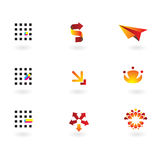 Collection of 9 design elements. And graphics in orange,red, cmyk color vector illustration
